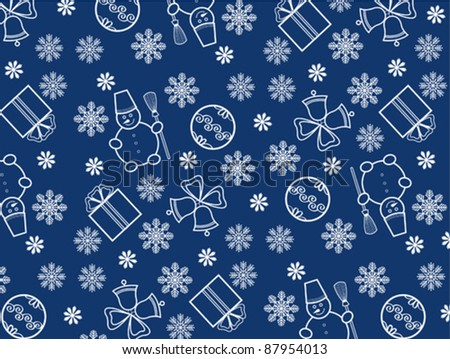 Blue Christmas wallpaper with new year theme - stock vector
