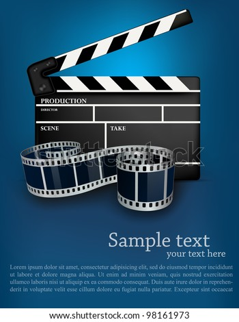 Blue cinema background with black movie clapper