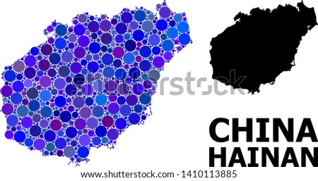 Blue circle mosaic and solid map of Hainan Island. Vector geographic map of Hainan Island in blue color tones. Abstract mosaic is combined with scattered circle points.