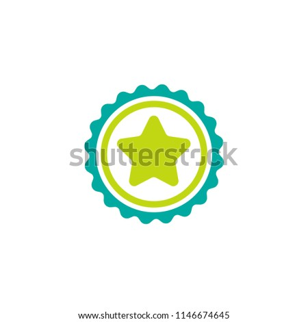 Blue circle with ribbon and green star. Flat sticker icon. Isolated on white. Accept button. Vector award illustration. Quality check. Certified medal. Approved stamp. Valid seal