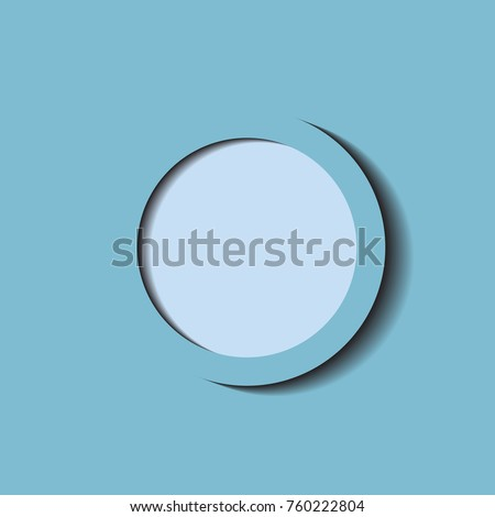 Blue circle with shadow On an blue background. Illustrator vector and icon