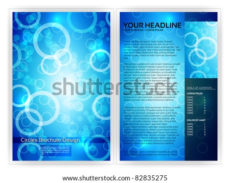 Blue Circles Brochure Template - EPS10 Vector Design - stock vector