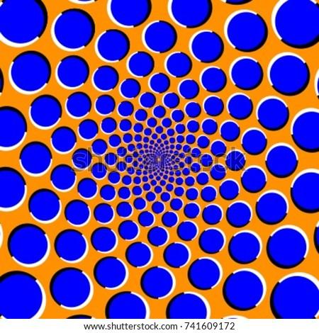 Blue circles on an orange background optical illusion