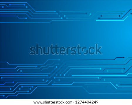 Blue circuit board or motherboard texture vector background graphic design. Semiconductor connections of computer hardware, microcircuit, motherboard elements. Blue microchips connections background.