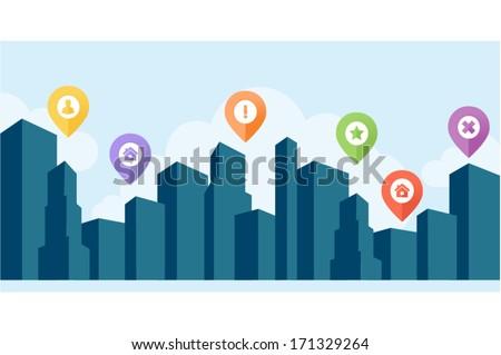 blue cityscape silhouette