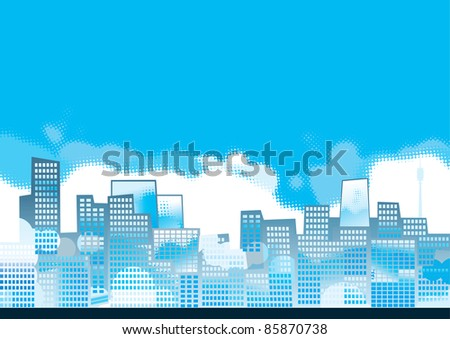 blue cityscape vector