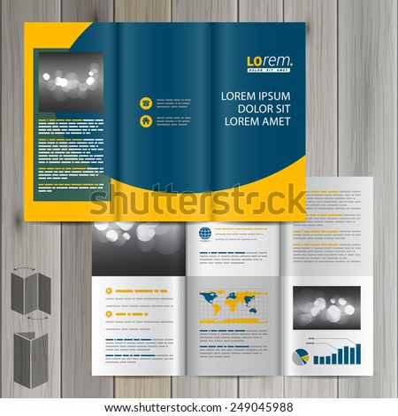 Blue classic brochure template design with yellow wave. Cover layout