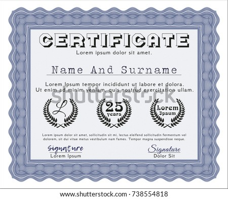 Blue Classic Certificate Template. Detailed. With Background. Money Pattern  Design.  Money Certificate Template