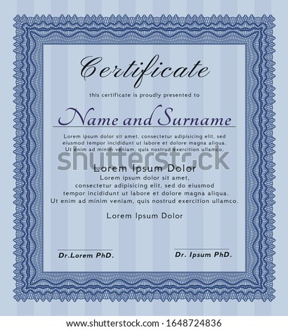 Blue Classic Certificate template. Modern design. Printer friendly. Customizable, Easy to edit and change colors.