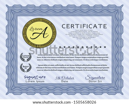 Blue Classic Certificate template. Money Pattern. Customizable, Easy to edit and change colors. With complex linear background.