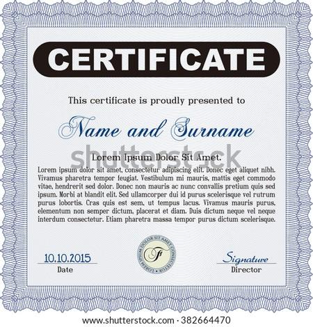 Blue Classic Certificate template. Money Pattern design.