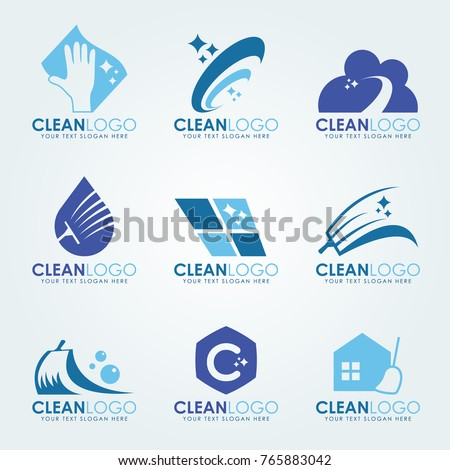 Blue Clean logo with  Cleaning gloves, water droplets , scrub brush and broom vector set design