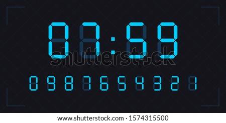 blue clock numbers digital