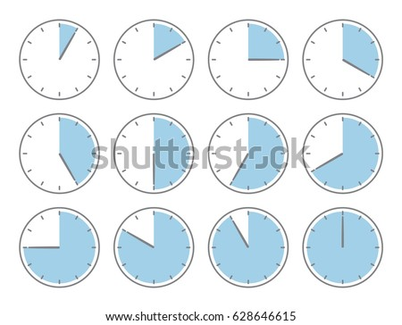 Blue clock, sixty minutes or twenty hours time increments illustration