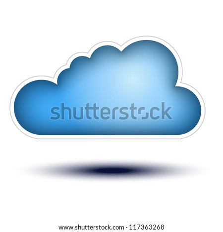 Blue Cloud Button Concept on white background Cloud Icon on white background, concept button full sized