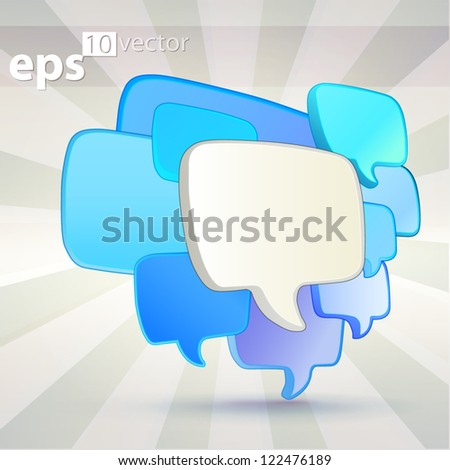 Blue cloud group of speech text bubbles composition as copyspace banner plate, eps10 vector background