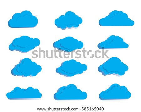 blue cloud  on white background