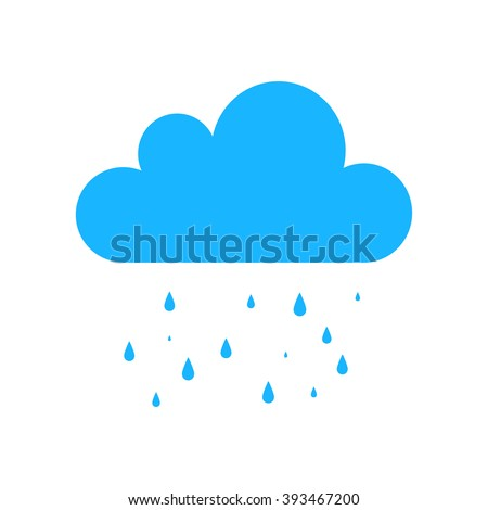 Blue Cloud Rain icon isolated on background. Modern simple flat forecast storm sign. Weather, internet concept. Trendy vector rain symbol for website design, web button, mobile app. Logo illustration.