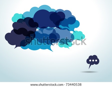Blue cloud speech bubbles