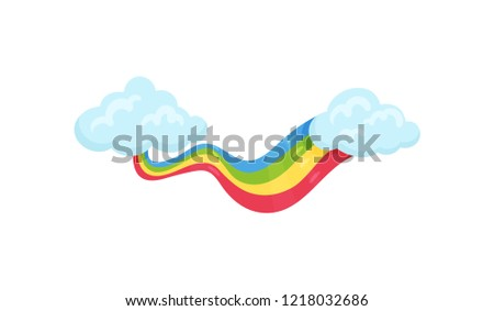 Blue clouds with multicolored rainbow. Wall decor for children room. Flat vector element for postcard or poster