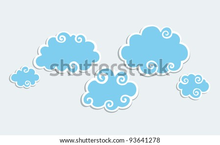 Blue Clouds with White Border