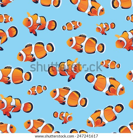 blue clownfish sea seamless