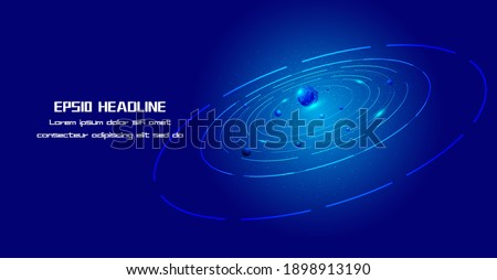Blue Coils Star Orbit and Planet Internet Technology Background Foto stock ©