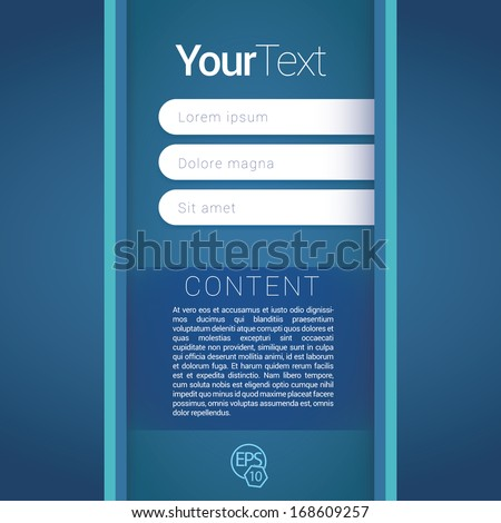 Blue cold color concept vertical edition of a scalable futuristic minimal vector software 3d layout design with navigation menu for printing, for web, or for mobile application for universal use