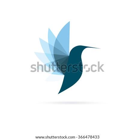 blue colibri logo minimalistic