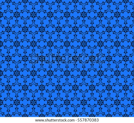 Blue Color Abstract Floral Seamless Pattern Geometry Design Vector For Invitation