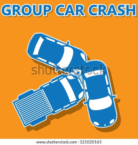 blue color group car crash on