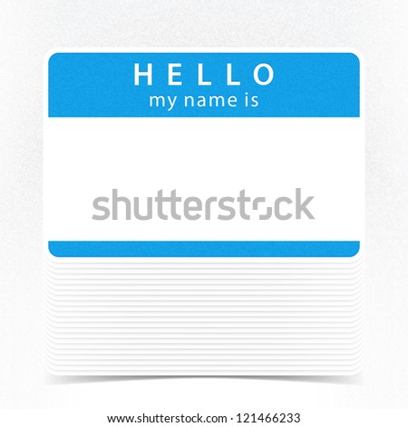 Blue color name tag HELLO my name is. Pile blank stickers with drop gray shadow on white background. This vector illustration clip-art element for design saved in 10 eps