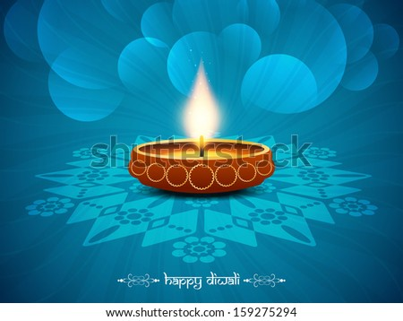 Blue color religious background design for diwali festival with beautiful lamp in middle vector illustration