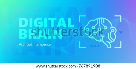 Blue colored  artificial intelligence vector banner with Digital brain words and robotic brain silhouette icon in outline style.
