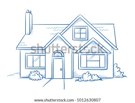 Blue colored detached, single family house with garden. Hand drawn line art cartoon vector illustration.