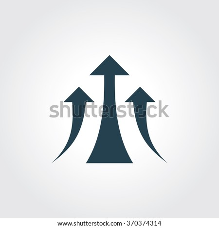 Blue Colored Icon of Growth  Graph or Growing Arrow On Gray Color Background. Eps-10.