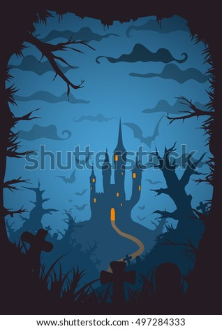 blue colored vector halloween