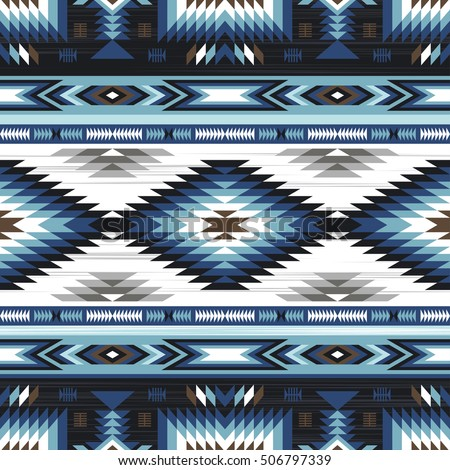 blue colors tribal vector seamless navajo pattern. aztec abstract geometric art print. ethnic hipster vector background. Wallpaper, cloth design, fabric, paper, cover, textile template. Сток-фото ©