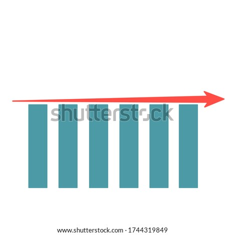 Blue column graphs diagram with constant linear arrow. Business chart diagram concept. Visualization of business processes. Chart of changes. Foto stock ©