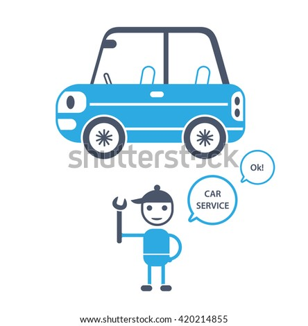 Blue compact car cartoon icon and an auto mechanic character holding a wrench. Garage service illustration.