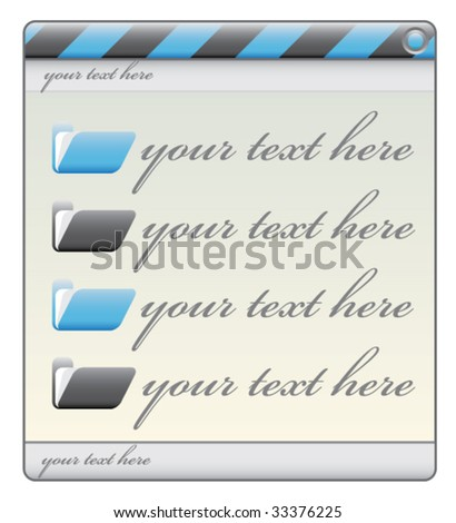 blue construction window label with folders and text space
