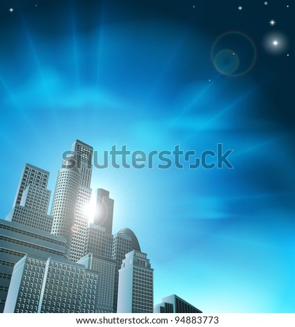 Blue corporate cityscape with skyscrapers and office blocks