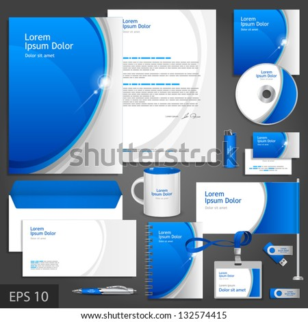 Blue corporate identity template with round elements. Vector company style for brandbook and guideline. EPS 10