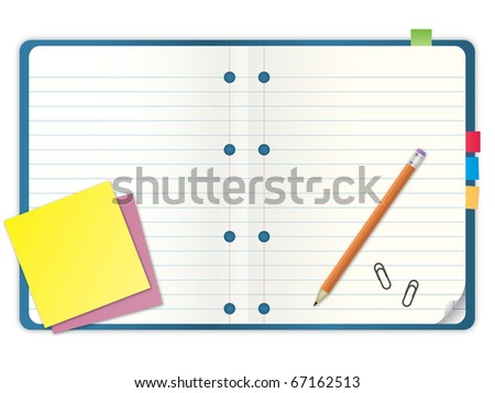 blue cover blank notebook with grid line paper open two pages with pencil and stationary vector illustration