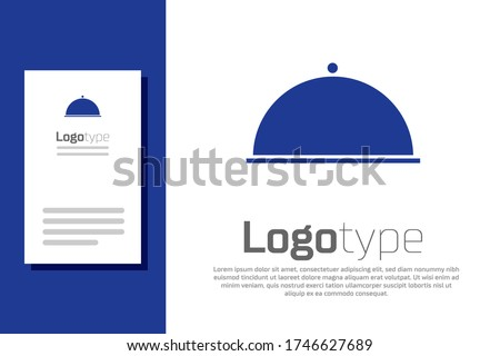 Blue Covered with a tray of food icon isolated on white background. Tray and lid. Restaurant cloche with lid. Kitchenware symbol. Logo design template element. Vector Illustration Stockfoto ©