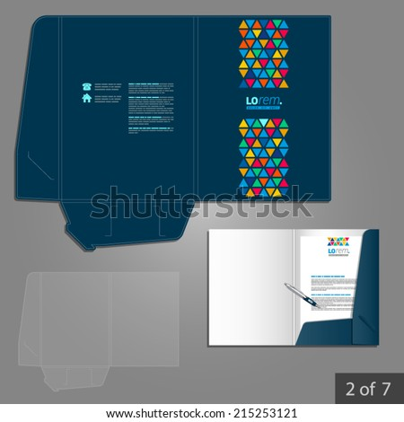 Blue creative folder template design for company with color triangles similar to stained glass. Element of stationery.
