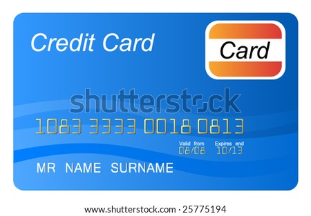 Blue credit card vector, highly detailed, vector