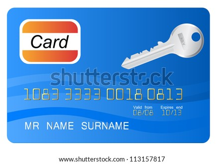 Blue credit card with vector key as element