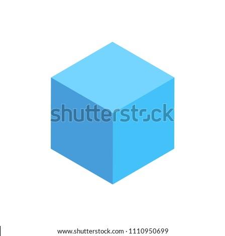 blue cuboid isolated geometric