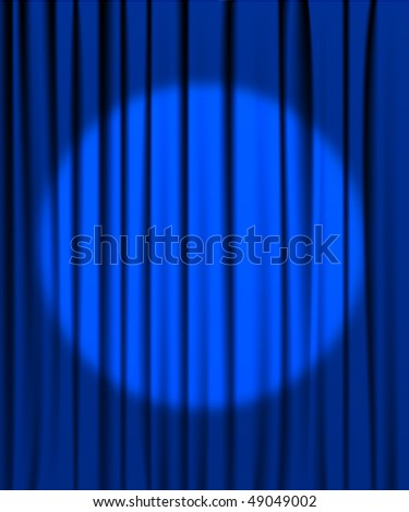 Blue curtain from the theatre with a spotlight